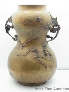 Antique Bronze Japanese Meiji Chinese or European Double Gourd Vine Leaf Vase