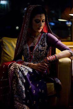 beautiful pakistani bride - purple and red designer lehnga