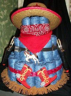 Cowboy with guns diaper cake  ~www.4cyourdreams.com cowboy diaper, diaper cakes, gun diaper