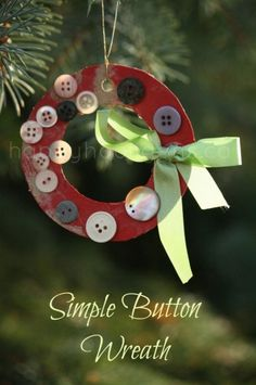 christmas crafts, kid activities, button wreath, school pictures, preschool craft, ornament, christma craft, kid crafts, simpl button