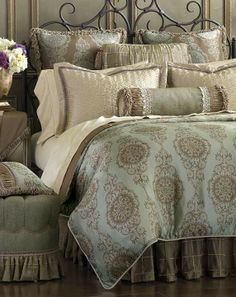 Swathe your room in breathtaking opulence with the Marbella Bedding Collection. This pearlescent bedding is simply gorgeous in shimmeringmetallic-toned fabrics.