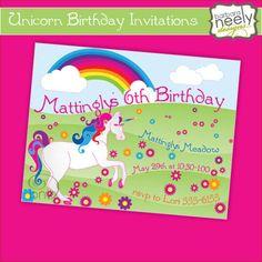 Unicorn Birthday Invitations by bndesigns on Etsy