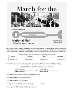 March for the Dream: A Martin Luther King, Jr. Math Lesson. Students use a scaled drawing of the National Mall to determine its actual area. Appropriate for both middle and high school classes. Addresses four Common Core Standards.
