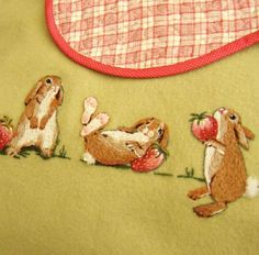 Jenny McWhinney's designs are so cute, they're almost edible. And Strawberry Jam is the perfect title for this piece – a blanket with frolicking bunnies and strawberries.