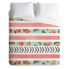 Allyson Johnson Floral Stripes And Arrows Duvet Cover | DENY Designs Home Accessories