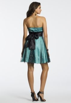 Sequin Strapless Lace Dress with Tie Back from Camille La Vie and Group USA #homecomingdresses #homecoming