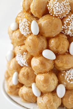 Traditional French wedding cake #croquenbouche -- without the almonds of course!