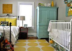 guest bedrooms, color schemes, color combos, shared nursery, shared rooms, nurseri, guest rooms, gray paint, babies rooms