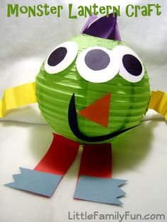 "Monster lantern kids party craft idea!  Get the smaller 8"" lanterns in a wide range of colors online at: http://www.partylights.com/Lanterns/8-in-Paper-Round"
