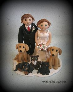Wedding Cake Topper with Five Pets by Trina's Clay Creations