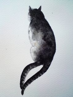 Twotailed cat  original watercolour painting by rachelscabinet