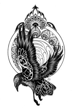 REALLY COOL ART NUVEAU!! I love the animal coming out of the circular background without the retangular frame! Raven with Peacock embelishment background. I see it representing the story of Raven & Peacock - how they got their colors.