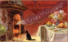 Thanksgiving greetings vintage images, holiday, vintage postcards, fireplac, autumn, black cats, vintag thanksgiv, thanksgiving cards, vintage cards
