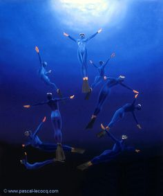 "OLYMPIC GAMES 2012, Aug 9th: Diving Women's 10m Platform  pic: ""CIRCUS AQUATICUS""  oil on canvas by Pascal Lecocq The Painter of Blue ®, 26""x22"" 65 x 54 cm, 1997, lec460,  priv.coll.Prevessin, France © www.pascal-lecocq.com."