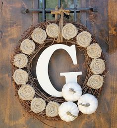 Fall Monogramed Wreath