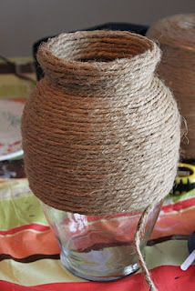 Vase wrapped in twine to hold bridesmaids bouquets