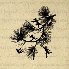 Printable Image Fairies Dancing on Branch Silhouette Digital Download Graphic Antique Clip Art. Printable high resolution digital graphic clip art from antique artwork for printing, transfers, tea towels, and more. Great for etsy products. This image is high quality at 8½ x 11 inches large. Transparent background version included with every graphic.