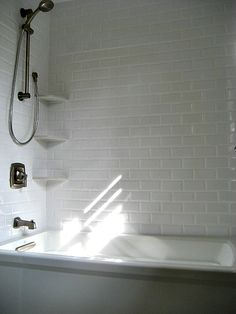 white beveled subway tile | Bathroom Materials: Durability vs. Looks…or can you have both?