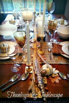 Tabletop Tip: Add the leaf to the table for the Thanksgiving feast, even if only seating 4. Use two runners from HomeGoods running across the table to camouflage the leaf seam, add texture, and connect guests. Lynda Quintero-Davids FocalPointStyling HappyByDesign - HomeGoodsHappy