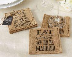 """""""Eat, Drink & Be Married"""" Burlap Coasters"""
