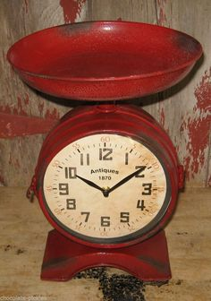 Red SCALE/Fruit Bowl CLOCK*Double Sided*Primitive/French Country Kitchen Decor #NaivePrimitive