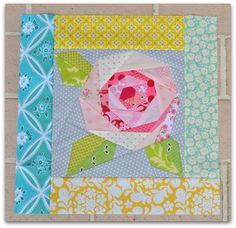 April blocks by TheSewingChick, via Flickr - love this rose! @Tessa McDaniel McDaniel McDaniel McDaniel McDaniel McDaniel McDaniel Marie - The Sewing Chick