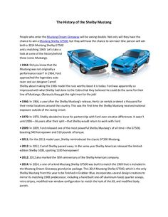 Discover Facts About the History of the Shelby Mustang by DGGroup Inc  via slideshare