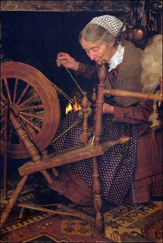 """Tasha Tudor  Spinning was the first paying job women had (16th century).  Prior to the invention of the spinning wheel, they could only be supported by a man or family member.  Spinning wheels made it so they could earn their own living - many women no longer needed to marry - thus the term """"spinster"""" has described an un-married woman.  I admire them greatly!"""