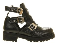 Office Ultimate Black Croc Leather - Ankle Boots