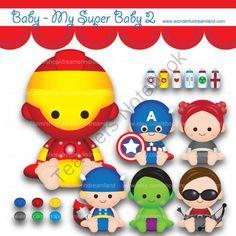 Printable Clipart Clip Art Digital PDF PNG File - Superhero Super Hero Super Baby Boy Girl 2 from Wonderful Dreamland on TeachersNotebook.com -  (2 pages)  - baby boy, baby girl, superhero,