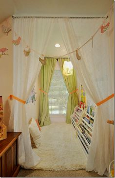 Library for a girl with a soft rug to lie down on the floor and read. What a great idea!
