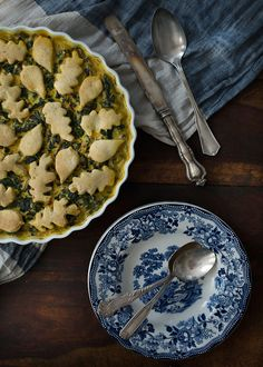 Spiced Swiss Chard Cobbler with Cornmeal Biscuits via Three Little Halves