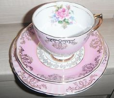 Vintage Argyle Fine Beautiful Bone China Pink and Gold Trio Cup Saucer Teaplate   eBay