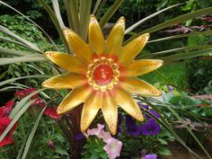 Garden Plate Flower Glass Plate Garden Art Yard Sun by GlassBlooms, $40.00