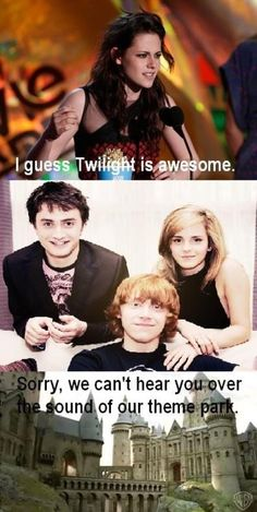 I like Twilight, but it's incredibly easy to make fun of. Besides, Harry Potter is WAY more awesome!!!