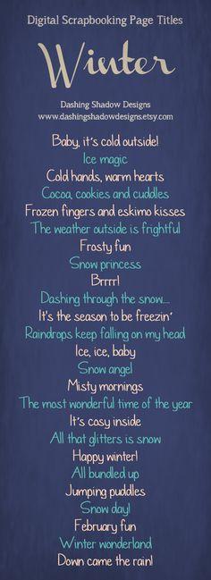 Scrapbook Page Title Ideas - Winter