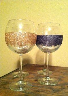 pretty sparkly wine glasses!