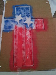 My first DIY 4th of july shirt. Cross Made out of cardboard