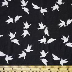 Bird print fabric  pigeon chiffon white bird on black chiffon fabric