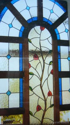 puerta vitral flores  vitrales clasico con flores estilizadas.-  #vitraux  #vidrio   #glass-art  #vetrata-decorata