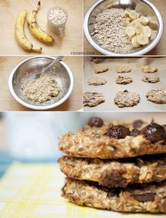 2 Ingredient Cookies: Supplies/Ingredients:      2 soft Bananas     1 glass Oats Optional:      Chocolate