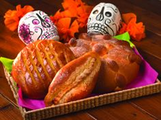 Pan de Muerto (Mexico):  This soft sweet bread is a Dia de Los Muertos (Day of the Dead) tradition in Mexico, sometimes eaten at the grave of a loved one or placed on an altar. It may be flavored with orange zest or decorated with a teardrop or bones, perhaps placed in a circle to represent the cycle of life. Some people even mold the bread into animals, angels or other evocative shapes. (Pan de Muerto recipe) #Halloween