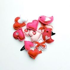 Barrettes for Valentines - love the heart wings!