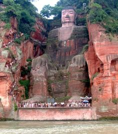 It took 90 years to carve the 233-foot-tall Leshan Giant Buddha out of a remote Chinese mountainside in the 8th century.  (Ariel Steiner/Wikimedia Commons)