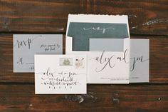 See through vellum and calligraphy wedding invitation