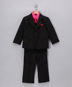 LA Sun Black & Fuchsia Suit Set - Infant