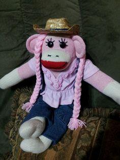 Cow girl sock monkey