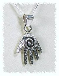 Native American Navajo Sterling Silver Mystic Hand Pendant