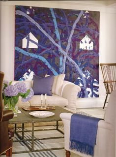 Victoria Hagan interior design, living rooms, blue, neutral rooms, hous, painting colors, big art, artwork, art pieces
