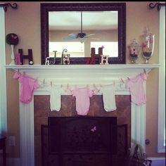 Mantle decor for baby shower